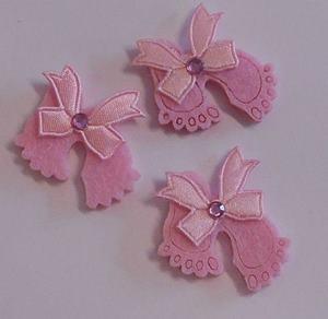 Vilten babyvoetjes roze 3 stuks per zakje
