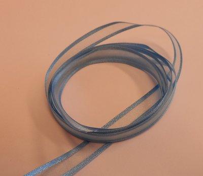 Organza lint blauw 10 mm breed per meter