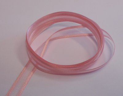 Organza lint roze 10 mm breed per meter