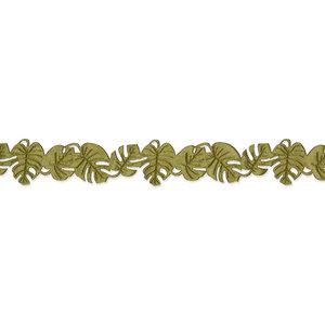 Satijnen monstera band olijfgroen ca. 1 meter per zakje
