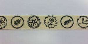 Band zelfklevend met blaadjes bloem print zwart 10 mm breed ca. 1 meter per zakje