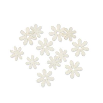 Vilt bloemetjes mini wit 10 stuks per zakje