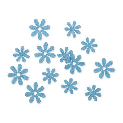 Vilt bloemetjes mini blauw 10 stuks per zakje