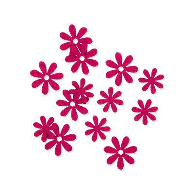 Vilt bloemetjes mini fuchsia 10 stuks per zakje