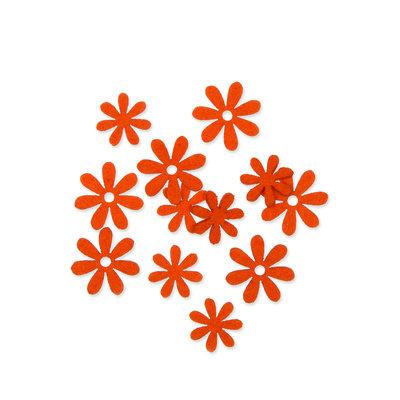 Vilt bloemetjes mini oranje 10 stuks per zakje