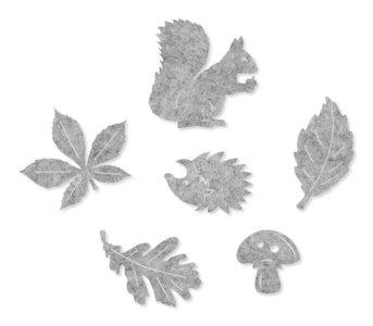Vilt figuurtjes grijs 6 figuurtjes per zakje