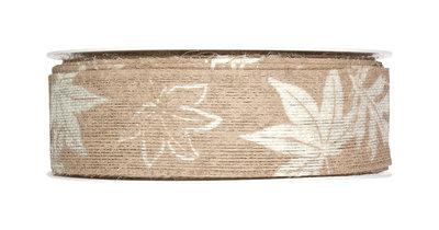 Lint jute band met blaadjes print bruin 35 mm breed ca. 1 meter per zakje