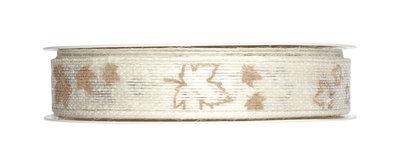 Lint jute band met blaadjes print 20 mm breed ca. 1 meter per zakje