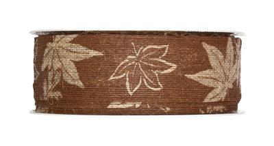 Lint jute band met blaadjes print donker bruin 35 mm breed ca. 1 meter per zakje