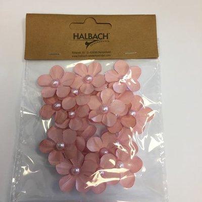 Papieren bloemen met parel roze 20 stuks per zakje
