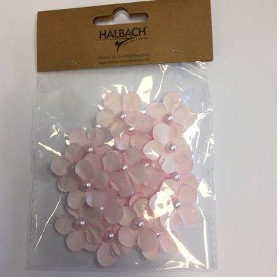 Papieren bloemen met parel licht roze 20 stuks per zakje