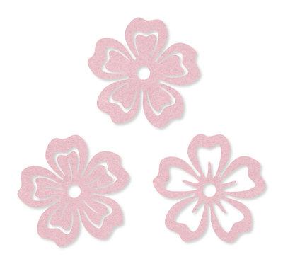 Vilt bloemen licht roze 6 cm doorsnee 6 stuks per zakje