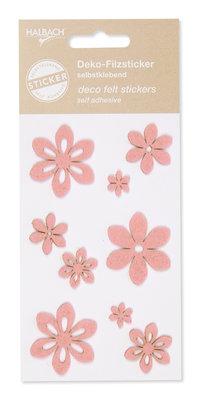 Zelfklevende vilt bloemen licht roze per set