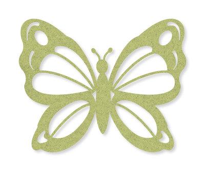 Vilt vlinders groen 4 stuks per zakje