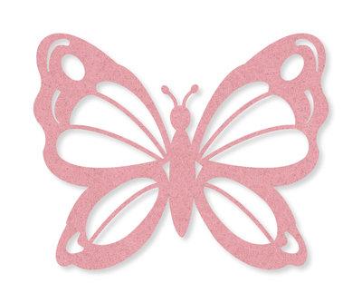 Vilt vlinders licht roze 4 stuks per zakje