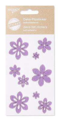 Zelfklevende vilt bloemen lila per set