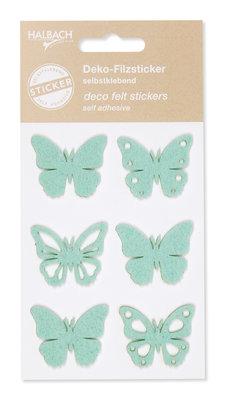 Zelfklevende vilt vlinders mint per set