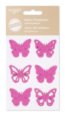 Zelfklevende vilt vlinders fuchsia per set