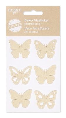 Zelfklevende vilt vlinders creme per set
