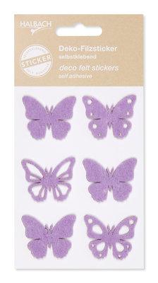 Zelfklevende vilt vlinder lila per set