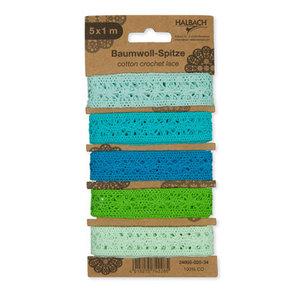 Kant assorti blauw groen 5 kantjes van 1 meter lang per set