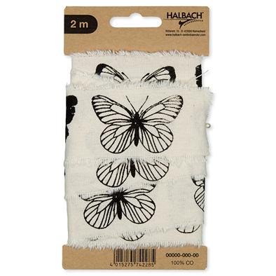 Katoen band vlinders 4,5 cm breed 2 meter lang per stuk