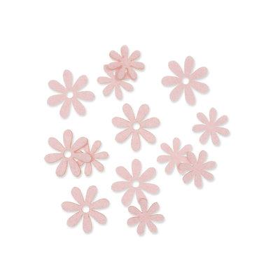 Vilt bloemetjes mini licht roze 10 stuks per zakje
