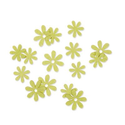 Vilt bloemetjes mini groen 10 stuks per zakje