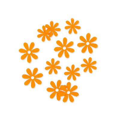 Vilt bloemetjes mini fel oranje 10 stuks per zakje
