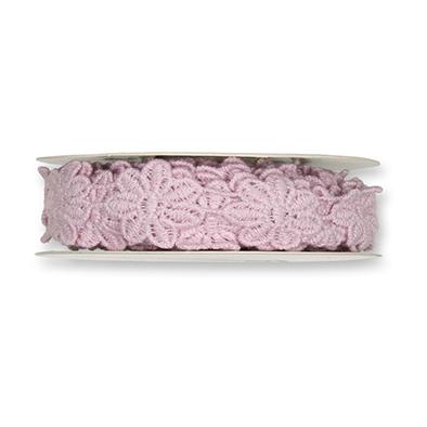 Kanten bloemen roze 2 cm breed 50 cm lang per stuk