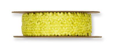 Satijnen mini bloemetjes band geel per meter