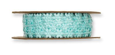 Satijnen mini bloemetjes band blauw per meter