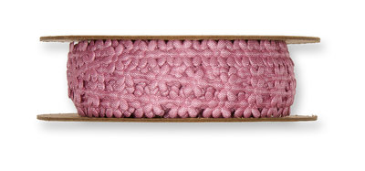 Satijnen mini bloemetjes band oud roze per meter