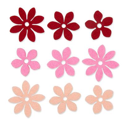 Vilt Bloemetjes, Abrikoos/Roze/Rood, 9 stuks per zakje