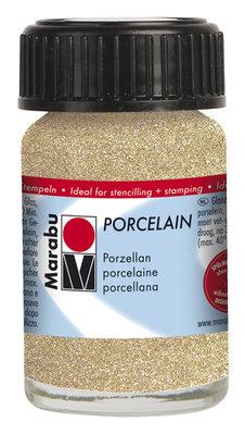 Marabu porseleinverf goud glitter 15 ml