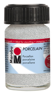 Marabu porseleinverf wit glitter 15 ml