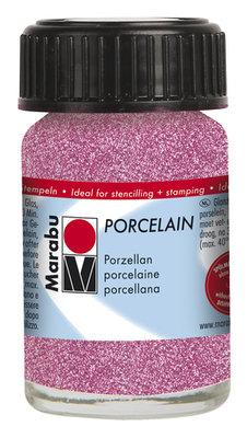 Marabu porseleinverf roze glitter 15 ml