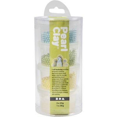 Pearl clay groen geel aqua set