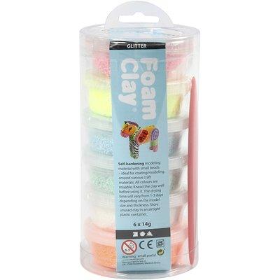 Foam clay kleuren assorti glitter set
