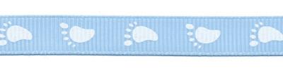 Baby voetjes lint blauw met witte voetjes 10 mm breed per meter