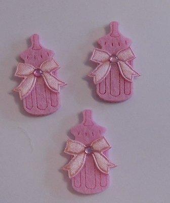 Vilten babyflesjes roze 3 stuks per zakje