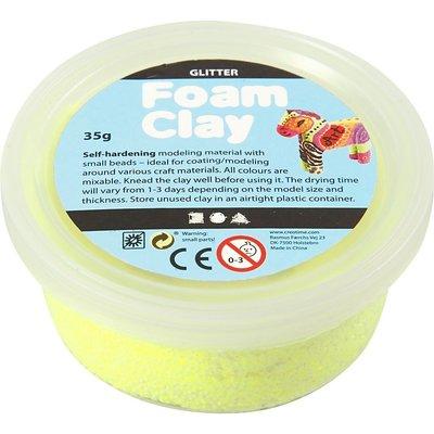 Foam clay glitter neon geel 35 gram