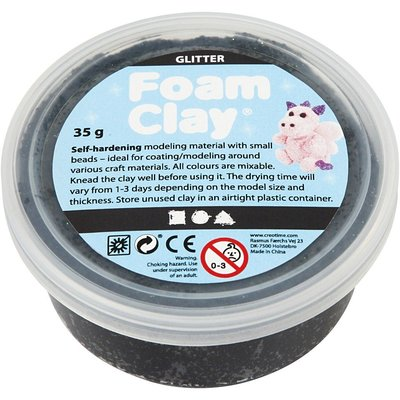 Foam clay zwart met glitter 35 gram