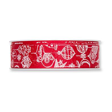 Kerst lint rood met print 25 mm breed 1 meter per zakje