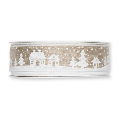 Kerst lint huisjes 25 mm breed 1 meter per zakje