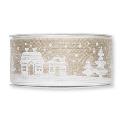 Kerst lint huisjes 40 mm breed 1 meter per zakje