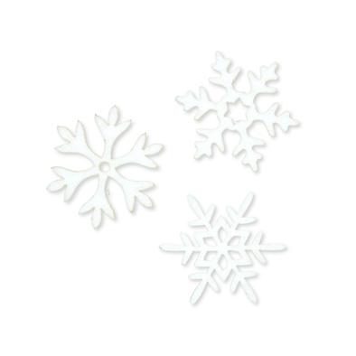 Vilt ijs sterren, Wit, 6 stuks