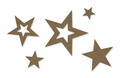Vilt decoratie sterren, Bruin, 30 stuks