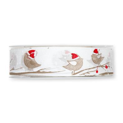 Kerst lint vogeltjes 25 mm breed 1 meter per zakje