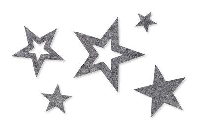 Vilt sterren grijs 10 stuks per zakje
